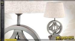 Lampe de table en bois coloris argent patiné