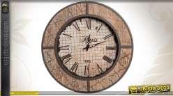 Horloge murale ronde de style industriel finition ancienne