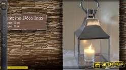 Lanterne carrée en inox et verre