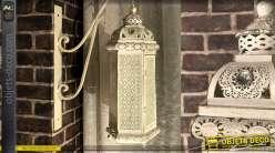 Lanterne blanche en métal ajouré de style oriental