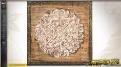 tableau mural d coratif en bois sculpt finition vieillie. Black Bedroom Furniture Sets. Home Design Ideas
