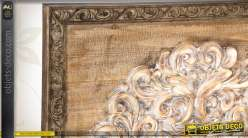 tableau mural d coratif en bois sculpt finition vieillie. Black Bedroom Furniture Sets. Home Design Ideas