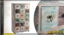 Commode en bois de style vintage pourvue de 18 tiroirs