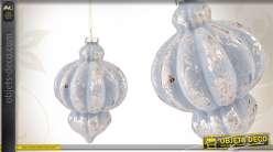 Lot de 6 boules de Noël en verre teinté et vieilli