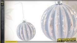 Lot de 6 boules de Noël en verre godronné