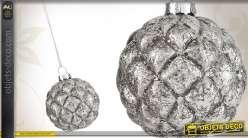 6 boules décoratives de Noël en verre argenté