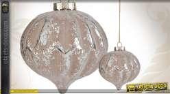 Lot de 6 boules de Noël en verre coloris gris ancien