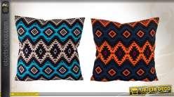 2 coussins décoratifs colorés de style ethnique