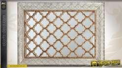 Miroir mural en bois, métal et verre de style oriental
