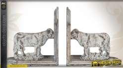 Paire de serre-livres en métal patiné miniatures de vaches
