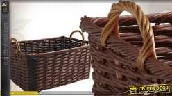 Grande corbeille de rangement en rotin synthétique coloris marron