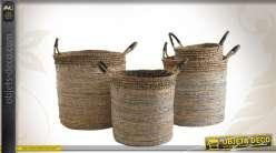 Série de 4 cache-pots décoratifs en bananier et sisal
