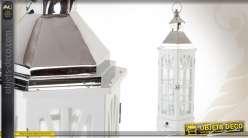 Grande lanterne décorative blanche en bois, métal et verre