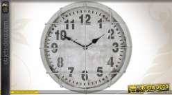 Horloge murale ronde de style vintage coloris gris patiné