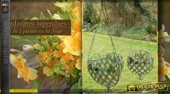 Série de deux jardinières suspendues en métal finition vert antique