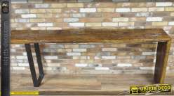 Console de style rustique en bois massif et en métal 240 cm