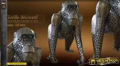Sculpture animalière : grand Gorille en métal