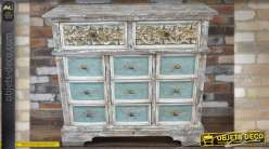 commode en bois de style ancien patin e blanc et bleu vieillis. Black Bedroom Furniture Sets. Home Design Ideas