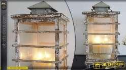 Lanterne vintage en bois et verre