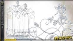 Série de 2 jardinières murales porte-plantes en métal blanc vieilli