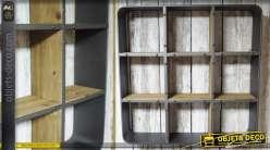 Etagère murale de style industriel en bois et en métal