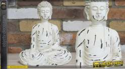 Statuette décorative de Bouddha blanc patiné