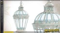 Lanterne décorative en métal et en verre de style ancien