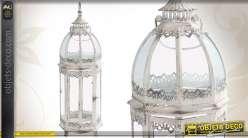 Lanterne vintage en métal patiné blanc et en verre