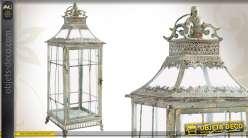 Grande lanterne décorative de style vintage en métal vieilli et en verre