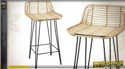 Tabouret de bar design en métal et rotin