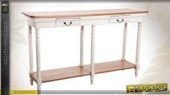 Console en bois vintage patine blanche et finition cirée