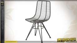 Chaise contemporaine en métal noir ancien