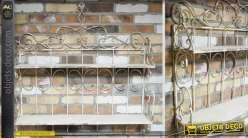 Etag re murale ronde bois et m tal style r tro et indus - Etagere murale fer forge ...