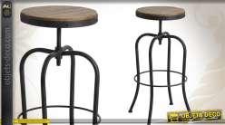 Tabouret de bar de style indus en métal et bois