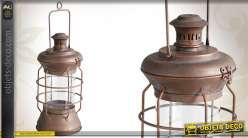 Lanterne vintage en métal vieilli finition cuivrée