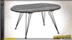 Table basse bois et métal finition vieillie