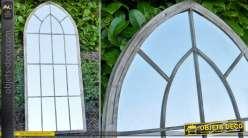 Grand miroir-fenêtre en métal vieilli et verre
