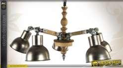 Lustre de style rétro et industriel en bois et métal à à 5 feux