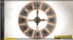 Horloge murale bois et métal coloris gris et bois naturel 80 cm