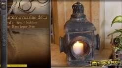 Lanterne en métal finition noir effet usé, style bateau hublot, à suspendre ou à poser