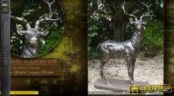 Sculpture animalière d'un cerf en métal pour ornementations de parcs et jardins, 1.5m