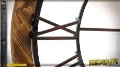 Très grande horloge en bois et métal de style industriel Ø 91,5 cm