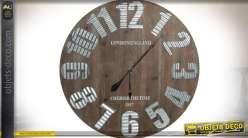 Horloge géante bois recyclé et métal aspect tôle ondulée Ø 80 cm