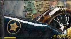 Déco murale en métal et en relief avion à hélices 47 cm