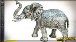 Grande statuette d'éléphant 70 cm finition chromée et miroirs