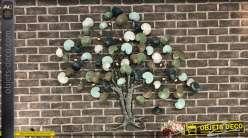 Grande décoration murale arbre stylisé multicolore 120 cm