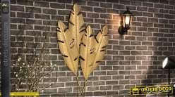 Décoration murale feuilles en métal style nature finition dorée