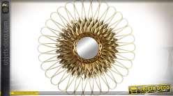 Miroir de décoration murale fleur stylisée dorée Ø 80 cm