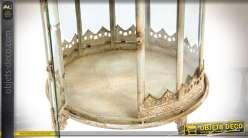 Grande lanterne ronde rétro en métal blanc corrodé 63 cm Ø 35 cm