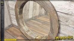 Grand miroir rond rustique en bois recyclé massif Ø 110 cm